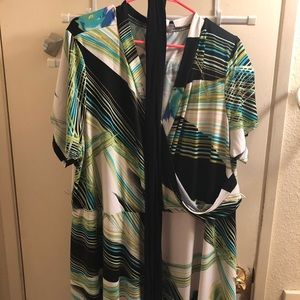 Placed Floral & Striped Faux Wrap Maxi Dress 26/28